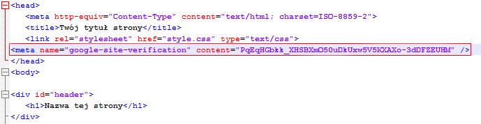 Kod źródłowy strony głównej witryny - Sekcja head - Wklej skopiowany kod do tej sekcji