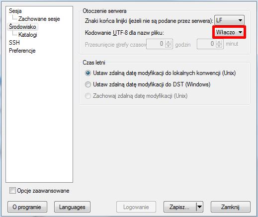 WinSCP - Ustawienia - Środowisko - Włącz opcje Kodowanie UTF-8 dla nazw pliku