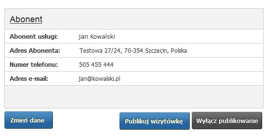 Panel klienta - Usługi - Wybrana domena - Konfiguracja usługi - Utwórz serwis WWW - Uruchom Wizytówkę WWW - Przykładowy ekran do zarządzania wizytówką dla domeny