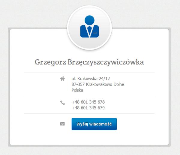 Strona WWW - Przykład włączonej wizytówki dla domeny zarejestrowanej w home.pl