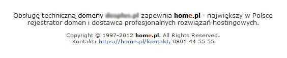 Domyślna zawartość strony WWW w home.pl, która wyświetlana jest zamiast wizytówki