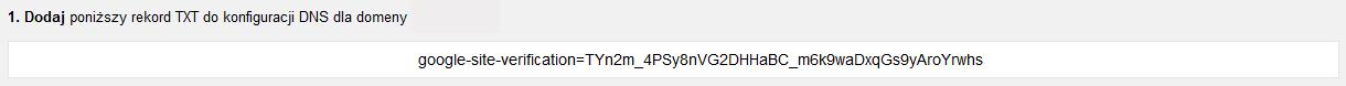 Narzędzia dla webmasterów - Dodaj witrynę - Metody alternatywne - Dostawca nazwy domeny - Zaznacz i skopiuj do schowka wyświetlony ciąg znaków (rekord TXT)