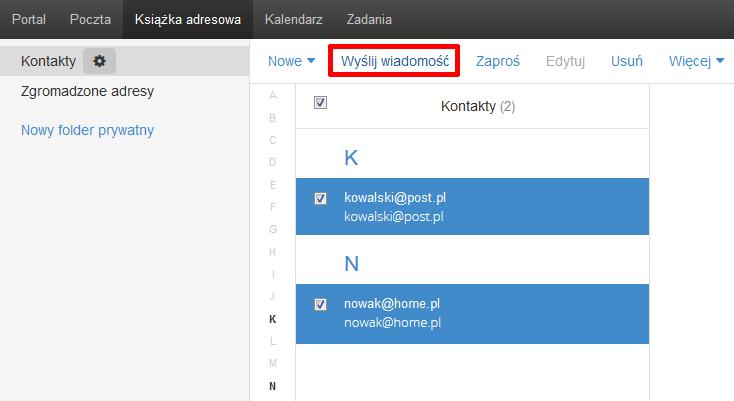 Poczta home.pl - Książka adresowa - Zaznacz te kontakty, do których chcesz wysłać wiadomość e-mail i kliknij opcję Wyślij wiadomość