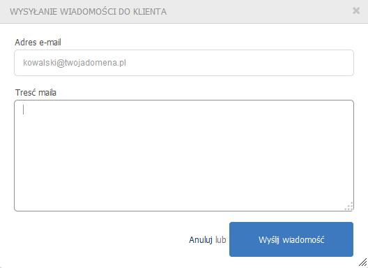 eKsięgowość - Kontrahenci - Ikona koła zębatego - Operacje - Wyślij - Wyślij wiadomość z dowolną treścią na adres e-mail klienta