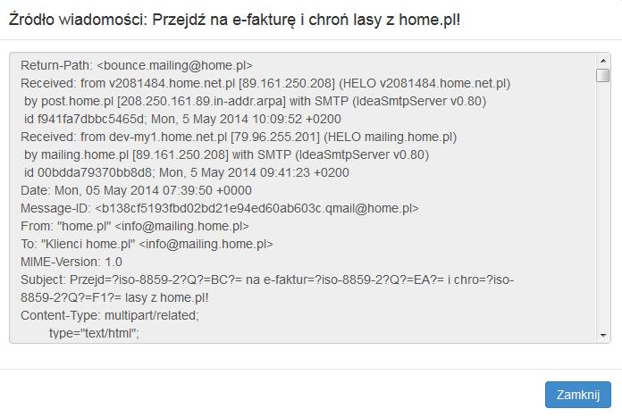 Poczta home.pl - Poczta - Skrzynka odbiorcza - Wybrana wiadomość - Wyświetl źródło - Sprawdź nagłówek wiadomości e-mail