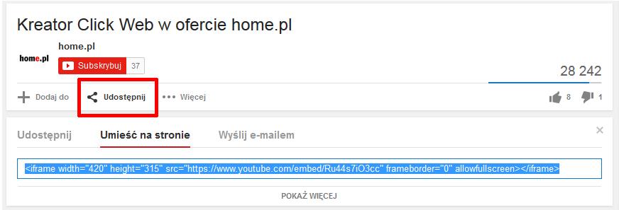 Jak umieszczać na stronie WWW dodane do YouTube filmy?