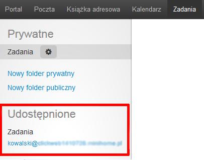 Poczta home.pl - Zadania - Udostępnione - Lista skrzynek e-mail