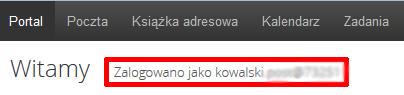 Poczta home.pl - Portal - Sprawdź nazwę użytkownika w sekcji Zalogowano jako