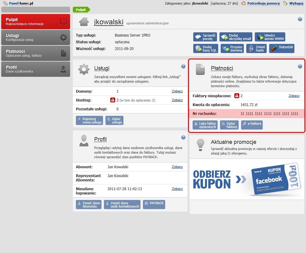 Numer rachunku bankowego, na który należy dokonać wpłaty znajduję się na stronie głównej Panelu Klienta home.pl widocznej po zalogowaniu