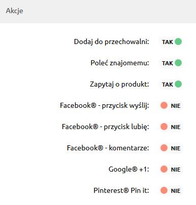 Sklep internetowy - Konfiguracja - Wygląd - Aktywny styl graficzny - Szczegóły produktów - W sekcji Akcje zaznacz opcję Google +1
