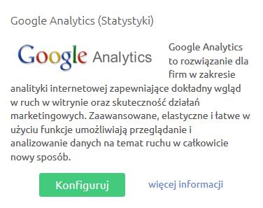 Sklep internetowy - Konfiguracja - Integracje - Inne - Konfiguruj moduł o nazwie Google Analytics (Statystyki)