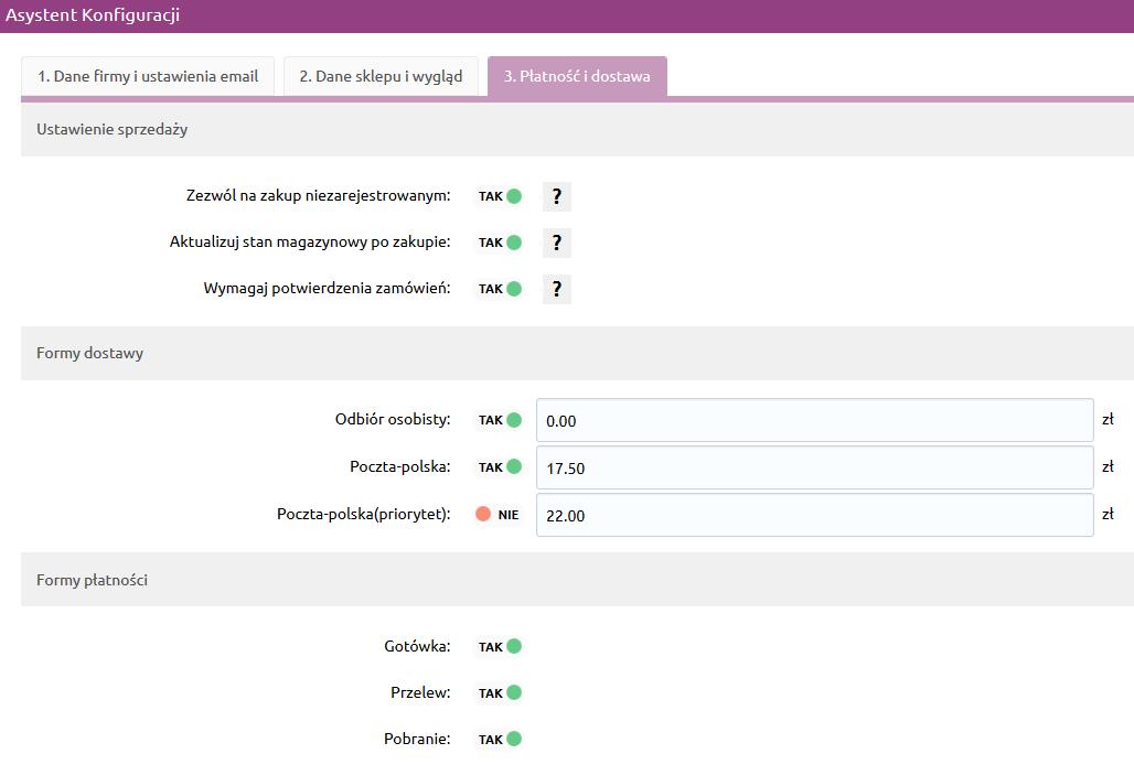 Sklep internetowy - Asystent konfiguracji - Ustaw formy płatności i koszty dostaw