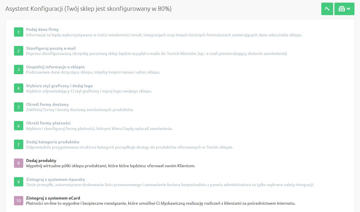 Sklep internetowy - Asystent konfiguracji - Wybierz skrót aby przejść do kolejnych sekcji menu