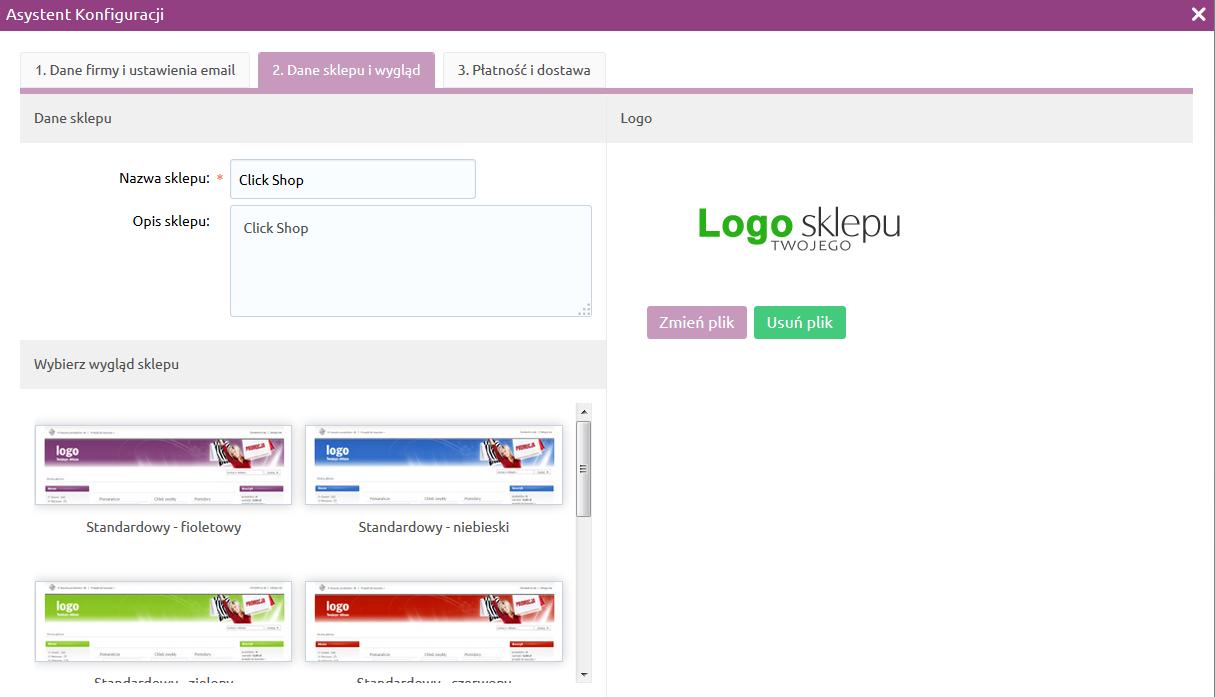 Sklep internetowy - Asystent konfiguracji - Uzupełnij informacje o sklepie i wyglądzie