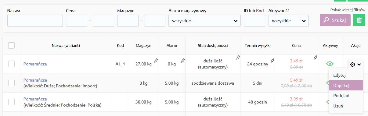Sklep internetowy - Asortyment - Produkty - Kliknij opcję Duplikuj