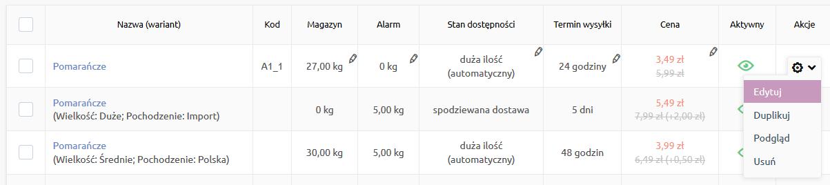Sklep internetowy - Asortyment - Produkty - Przejdź do edycji produktu, który chcesz powiązać z innymi produktami
