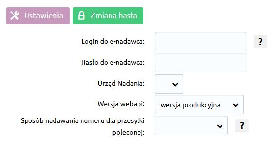 Sklep internetowy - Konfiguracja - Sprzedaż - Dostawy - Poczta Polska - Wybierz zakładkę Ustawienia dodatkowe i podaj swój login oraz hasło dostępu do systemu E-Nadawca
