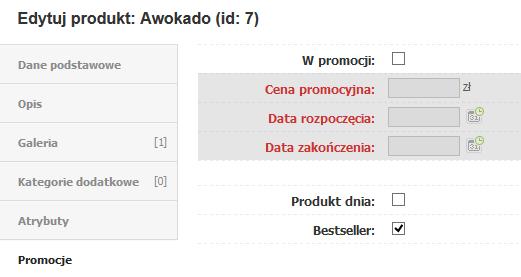 eSklep - Asortyment - Produkty - Edytuj - Przypisz odpowiednie oznaczenia Nowość lub bestseller dla danego produktu