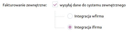 Sklep internetowy - Konfiguracja - Sprzedaż - Faktury - Zaznacz opcję Fakturowanie zewnętrzne i na liście dostępnych aplikacji wybierz Integracja z ifirma