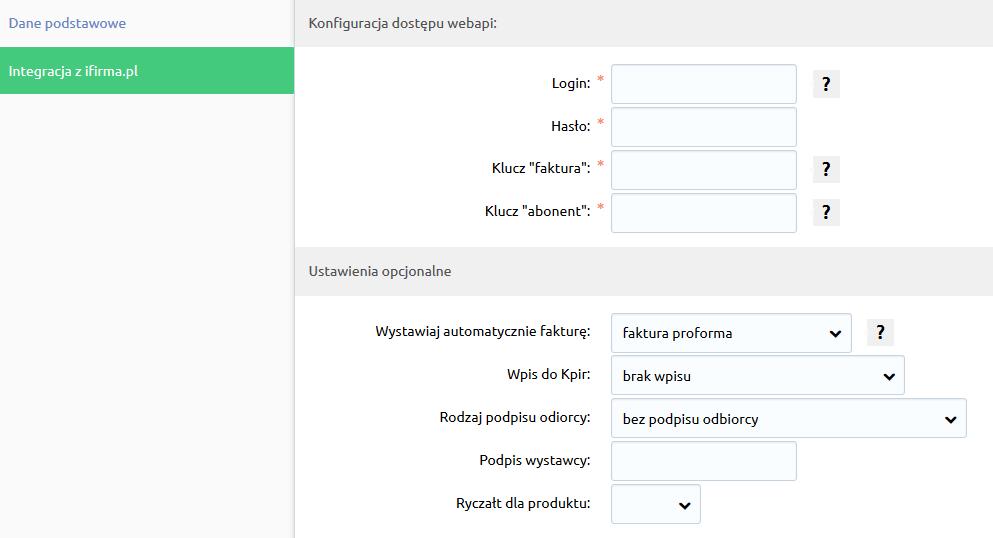 Sklep internetowy - Konfiguracja - Sprzedaż - Faktury - Integracja z ifirma.pl - Uzupełnij informacje na temat integracji z ifirma.pl
