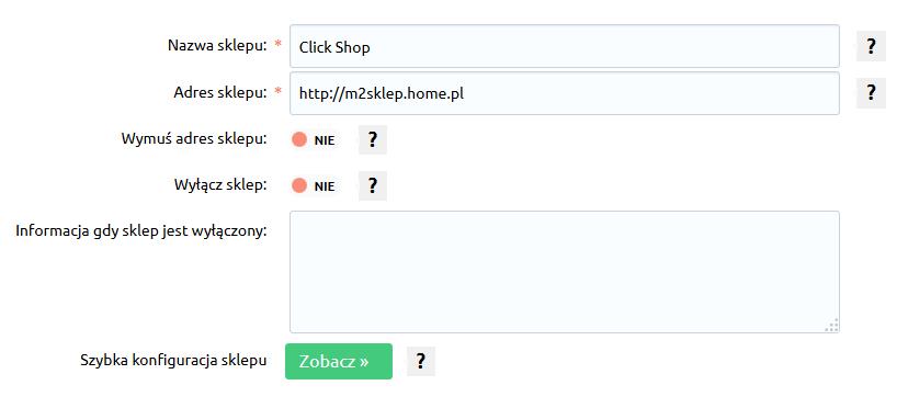 Sklep internetowy - Konfiguracja - Ustawienia podstawowe - Informacje o sklepie - Uzupełnij dane o Twoim sklepie