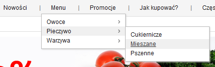 Sklep internetowy - Menu kategorii produktów w pasku nawigacyjnym - Wynik operacji