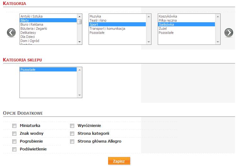 Sklep internetowy - Konfiguracja - Integracje - Systemy aukcyjne - Profile aukcji - Dodaj profil - Ustawienia aukcji - Wybierz kategorie Allegro