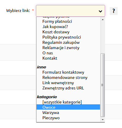Sklep internetowy - Zawartość - Nagłówek i stopka - Dodaj link - Wybierz poszczególną kategorię, która ma zostać dodana do paska nawigacyjnego