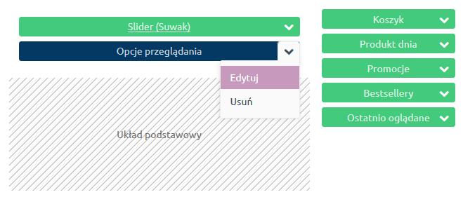 Sklep internetowy - Konfiguracja - Wygląd - Aktywny styl graficzny - Moduły - Następnie przejdź do edycji modułu Opcje przeglądania