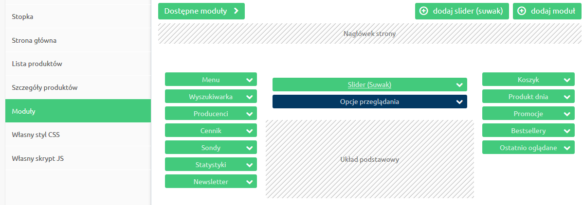 Sklep internetowy - Konfiguracja - Wygląd - Aktywny styl graficzny - Moduły- Przesuń moduł Opcje przeglądania