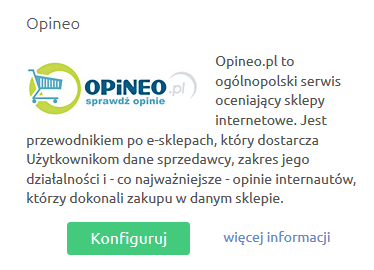Sklep internetowy - Konfiguracja - Integracje - Inne - Kliknij przycisk Konfiguruj, który znajduje się przy module Opineo