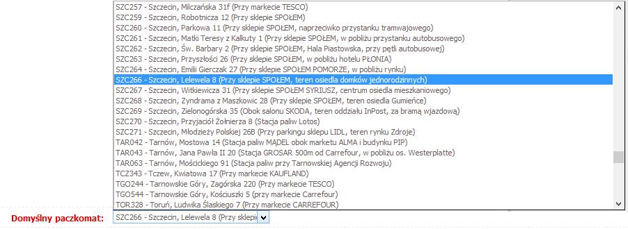 Paczkomaty.pl - Ustawienia Paczkomaty Inpost - Mam już konto w Paczkomaty - Wybierz z listy rozwijanej konkretny paczkomat, w którym będziesz nadawać przesyłkę