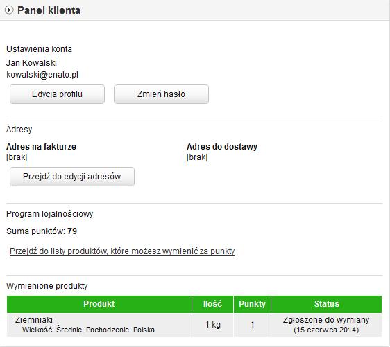 Sklep internetowy - Panel klienta - Po zalogowaniu do swojego konta, w opcji menu Moje konto, klient może sprawdzić ilość uzbieranych przez niego punktów