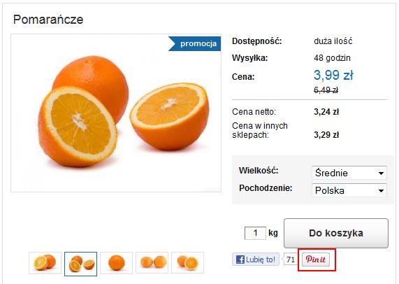 Sklep internetowy - Przykład wyświetlenia Szczegółów Produktu - Przycisk Pin it