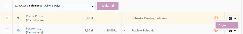Sklep internetowy - Konfiguracja - Sprzedaż - Dostawy - Kliknij ikonę edycji przy pozycji Poczta Polska