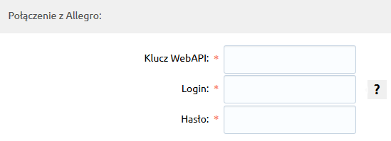 Sklep internetowy - Integracje - Systemy aukcyjne - Konfiguracja - Połącz z Allegro - Połączenie a Allegro - Uzupełnij dane