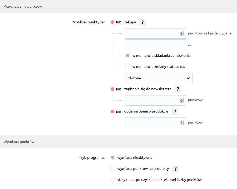 Sklep internetowy - Konfiguracja - Marketing - Program Lojalnościowy - Poniżej, w sekcji Przyznawanie punktów, określ zasady przyznawania punktów