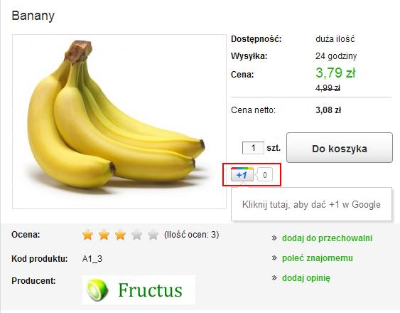 Sklep internetowy - Karta produktu - Przycisk Google +1 będzie od tej pory wyświetlany na karcie każdego produktu