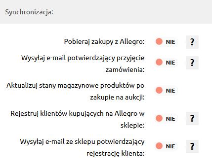 Sklep internetowy - Integracje - Systemy aukcyjne - Konfiguracja - Połącz z Allegro - Poprawnie zsynchronizuj integrację
