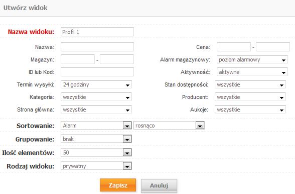 Sklep internetowy - Asortyment - Magazyn - Filtr zaawansowany - Szukaj - Widok - Utwórz widok z aktualnych wyników - Zweryfikuj czy w ustawianym profilu występują wszystkie kryteria