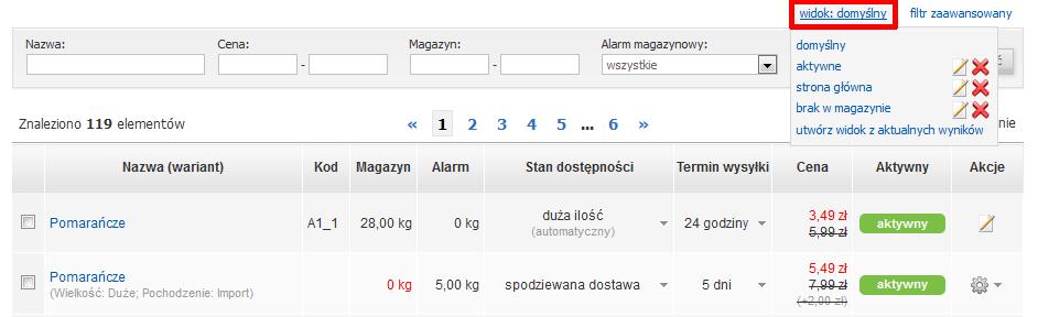 Sklep internetowy - Asortyment - Produkty - Widok - kliknij opcję Widok: domyślny