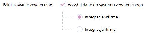 Sklep internetowy - Konfiguracja - Sprzedaż - Faktury - Przy sekcji Fakturowanie zewnętrzne zaznacz pole Wysyłaj dane do systemu zewnętrznego