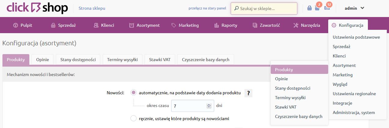 Sklep internetowy - Konfiguracja - Asortyment - Wybierz opcje menu Produkty