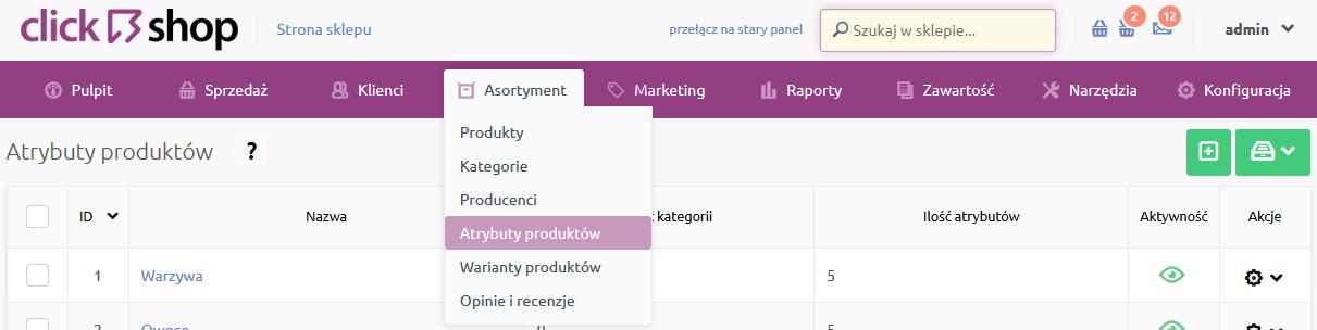 Sklep internetowy - Asortyment - Wybierz opcje Atrybuty produktów