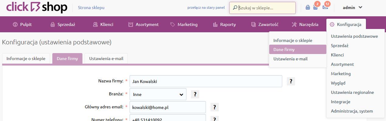 Sklep internetowy - Konfiguracja - Ustawienia podstawowe - Przejdź do opcji menu Dane firmy