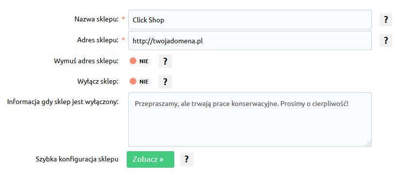 Sklep internetowy - Konfiguracja - Ustawienia podstawowe - Informacje o sklepie - Uzupełnij dane o sklepie