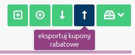 Sklep internetowy - Marketing - Rabaty - Kupony rabatowe - Z górnego menu wybierz opcję Eksportuj kupony rabatowe