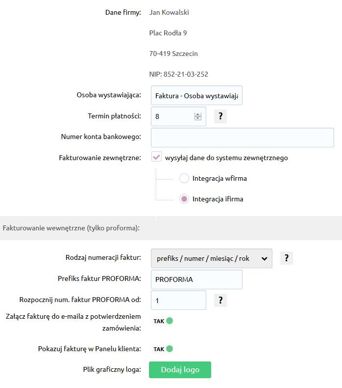 Sklep internetowy - Konfiguracja - Sprzedaż - Faktury - Zarządzaj opisanymi ustawieniami