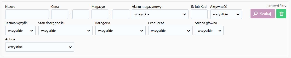 Sklep internetowy - Asortyment - Produkty - Widok wersji zaawansowanej wyszukiwarki produktów