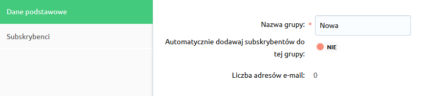Sklep internetowy - Klienci - Grupy subskrybentów - Uzupełnij Dane podstawowe